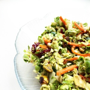 Shaved Brussels Sprout Salad with Pistachios & Cranberries