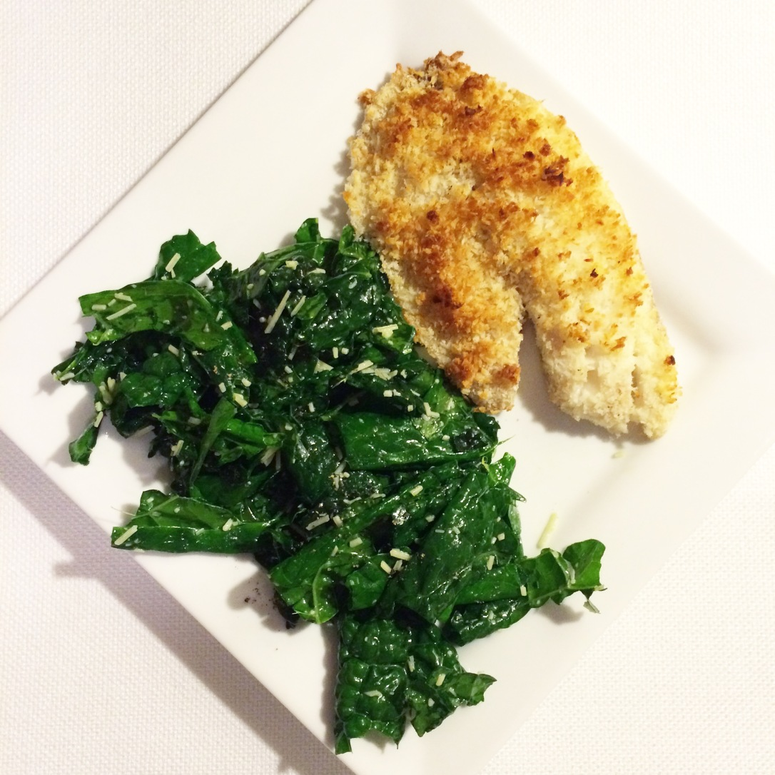 Coconut-Crusted Tilapia with a Massaged Kale Salad