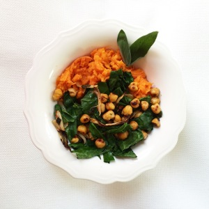 Crispy Sage Chickpeas over Sweet Potato Mash