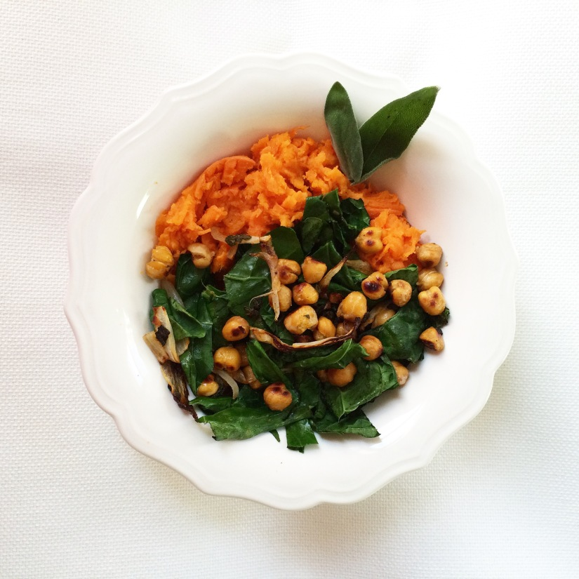 Crispy Sage Chickpeas over Sweet Potato Mash