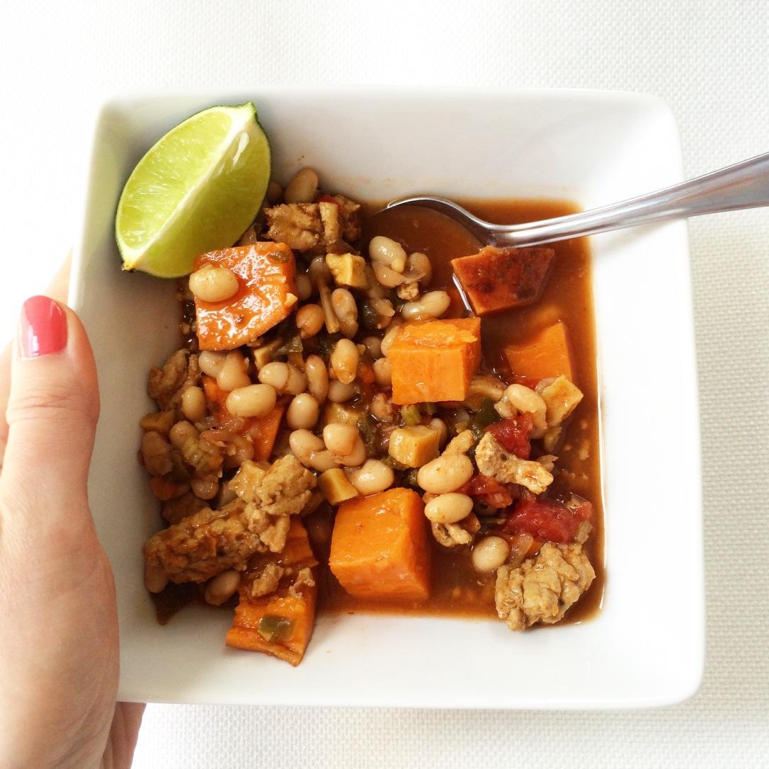 White Bean Chili with Sweet Potato & Turkey