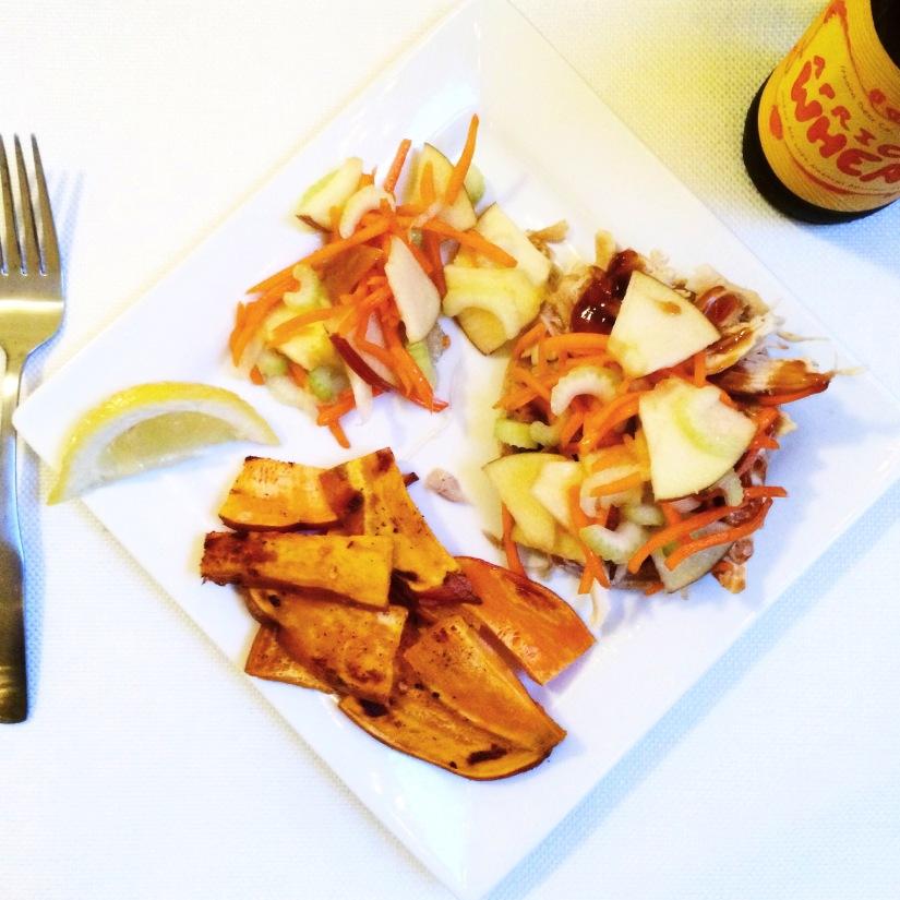 Open Faced BBQ Chicken Sandwich with an Apple Slaw (& Spicy Garlic Sweet Potato Fries)