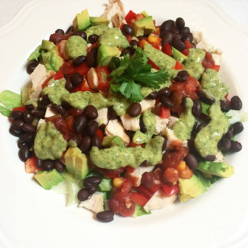 Chopped Mexican Salad with an Avocado Cilantro Dressing