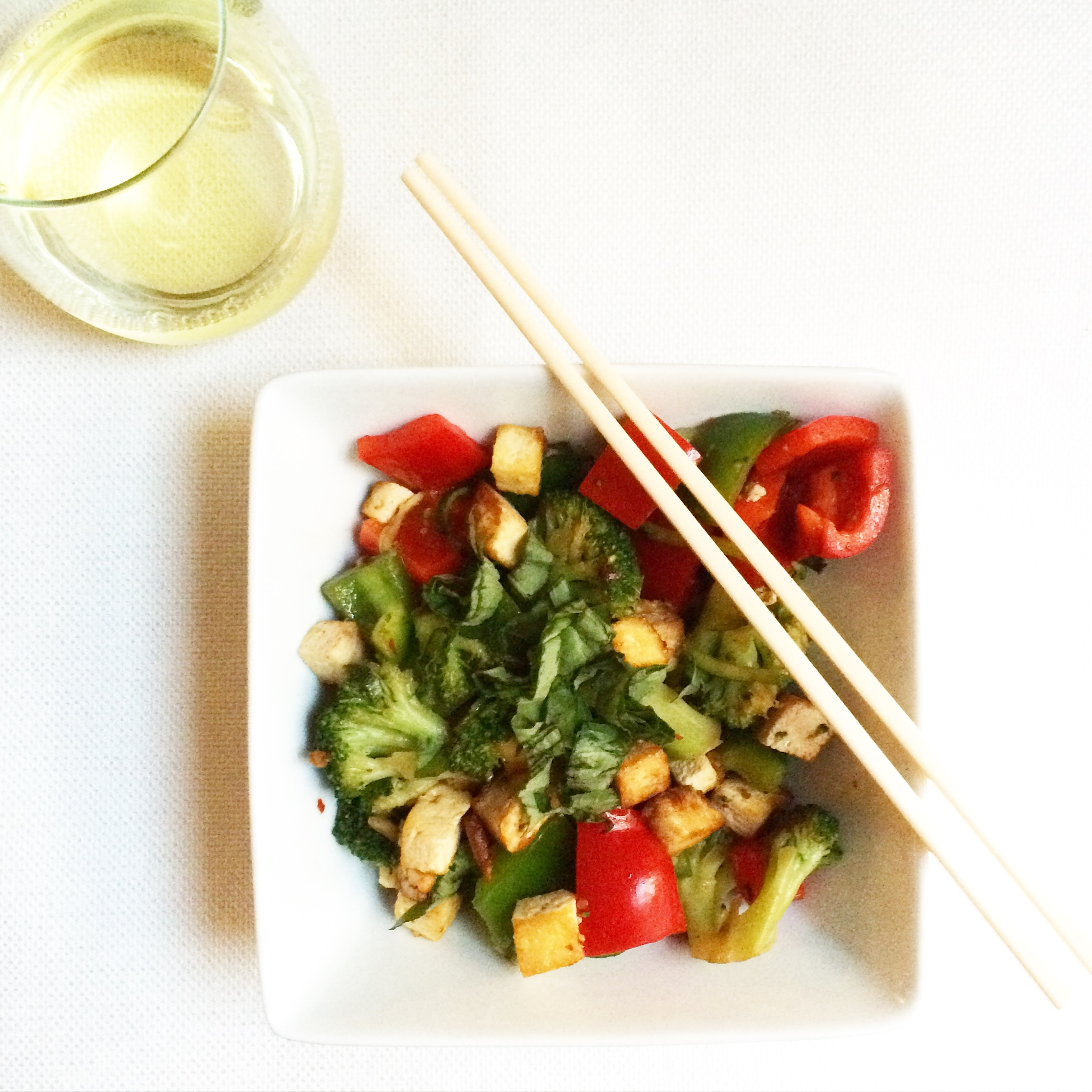 Summer Vegetable Stir Fry with Crispy Tofu
