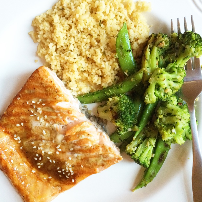 Sesame Soy Salmon with Couscous & Snap Peas